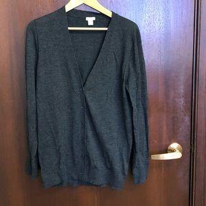 J. crew long grey lightweight wool sweater